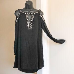 KNOX ROSE sz S black cold shoulder tunic/dress/top